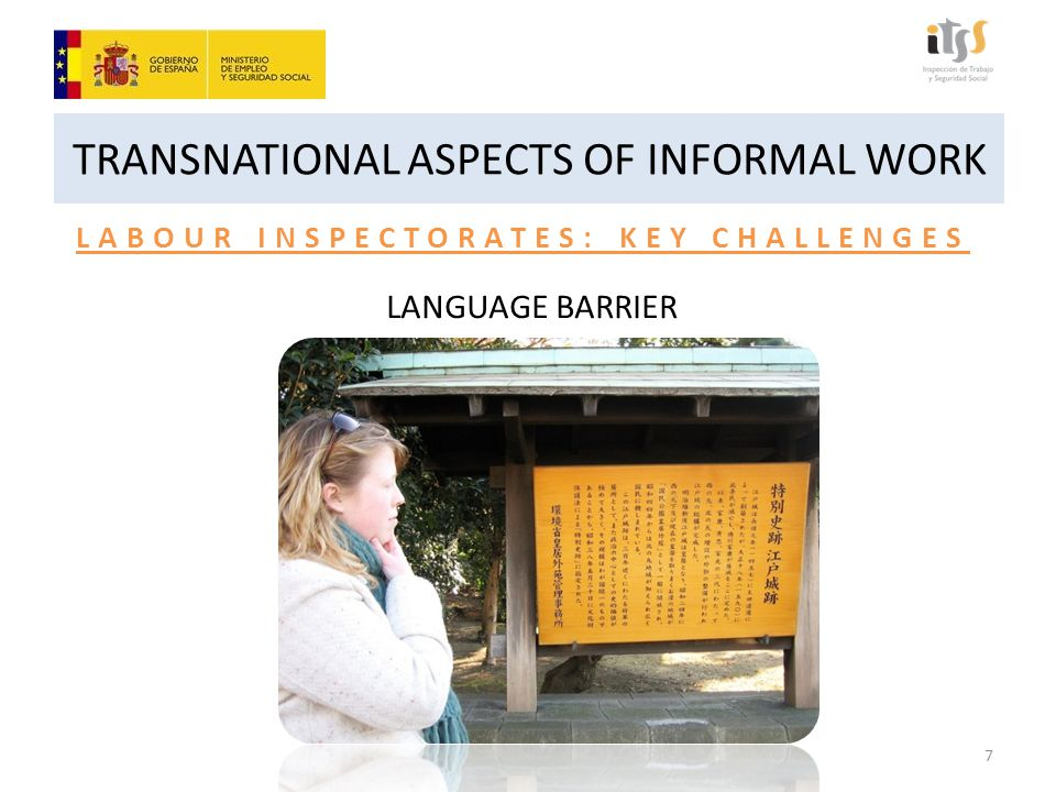 TRANSNATIONAL ASPECTS OF INFORMAL WORK LABOUR INSPECTORATES: KEY CHALLENGES LANGUAGE BARRIER 7