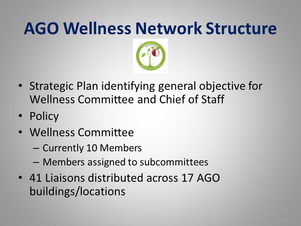 AGO Wellness Network Structure Strategic Plan identifying general objective for Wellness Committee and Chief of Staff Policy Wellness Committee – Currently 10 Members – Members assigned to subcommittees 41 Liaisons distributed across 17 AGO buildings/locations 6