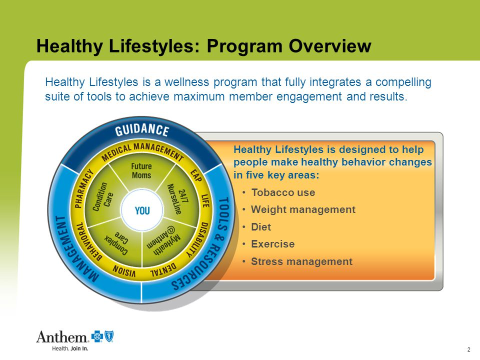 3 Healthy Lifestyles: Goals  Understand the total effect of unhealthy behaviors on their overall health status  Realize the impact unhealthy choices and behaviors are having on their life  Envision how their life could be by making healthier choices  Identify the daily situations that spark these behaviors and deciding how to deal with them  Build and follow a personalized strategy that will change and improve lifestyle choices Healthy Lifestyles helps participants create their own health improvement plans to help them: