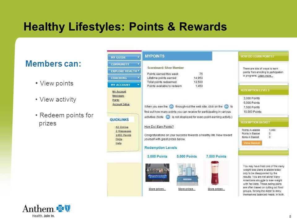 8 View points View activity Redeem points for prizes Healthy Lifestyles: Points & Rewards Members can: