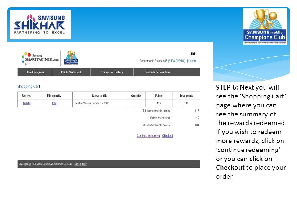 STEP 6: Next you will see the 'Shopping Cart' page where you can see the summary of the rewards redeemed.