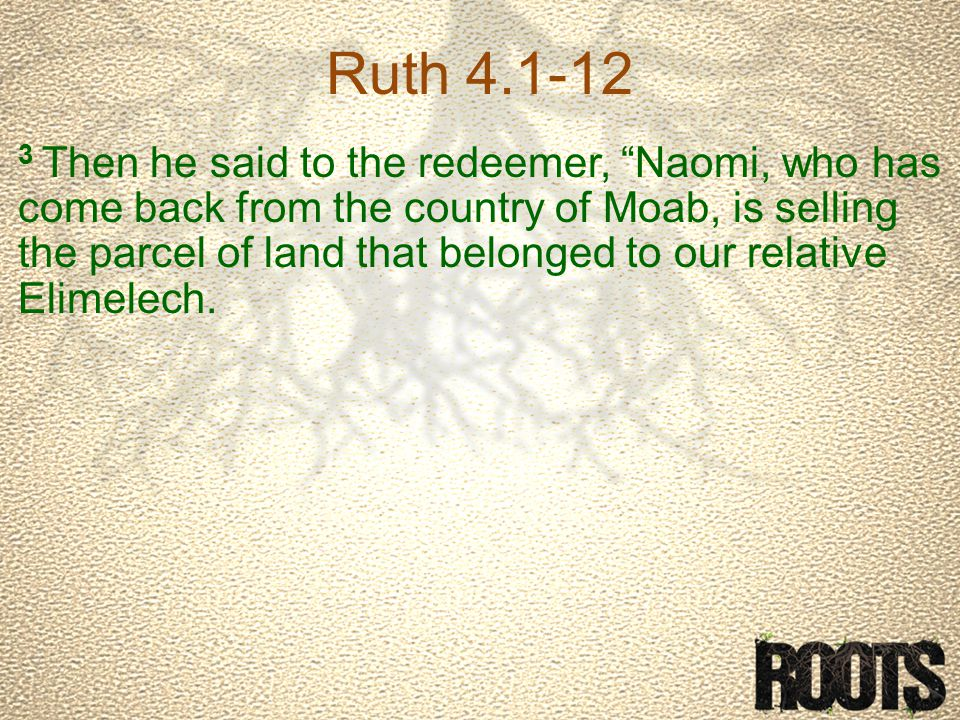 Ruth 4.1-12 3 Then he said to the redeemer, Naomi, who has come back from the country of Moab, is selling the parcel of land that belonged to our relative Elimelech.