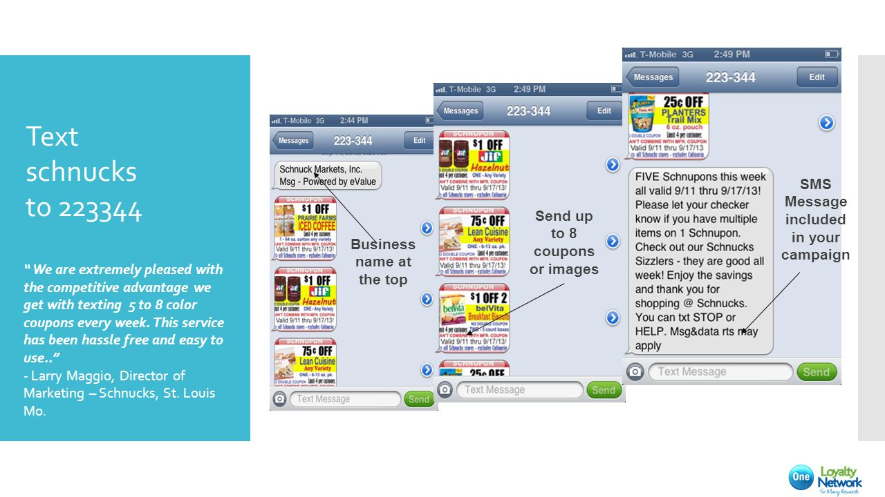 We are extremely pleased with the competitive advantage we get with texting 5 to 8 color coupons every week.