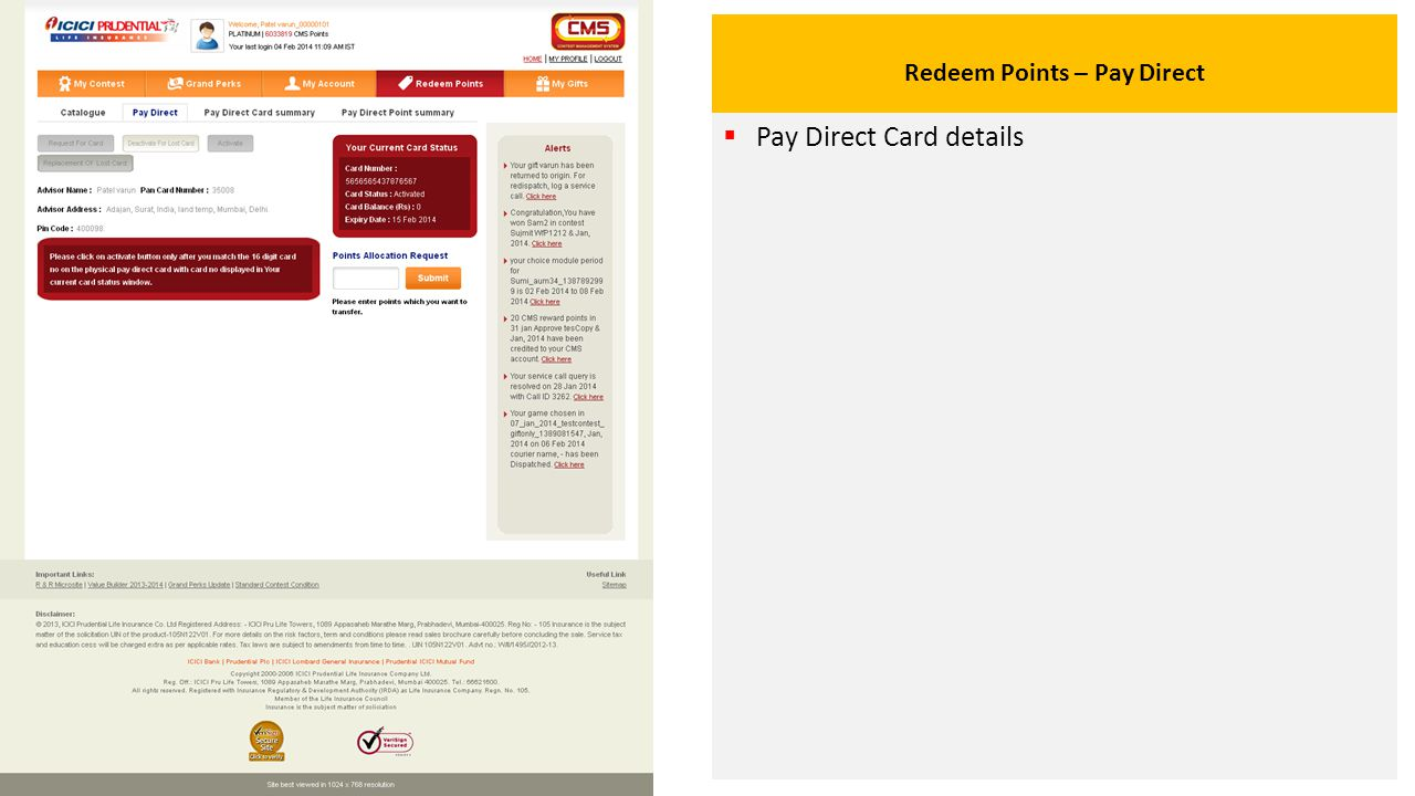 Redeem Points – Pay Direct  Pay Direct Card details