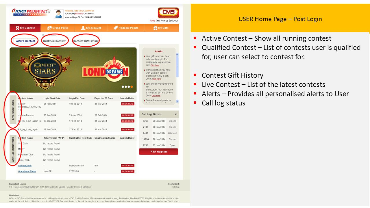 USER Home Page – Post Login  Active Contest – Show all running contest  Qualified Contest – List of contests user is qualified for, user can select to contest for.