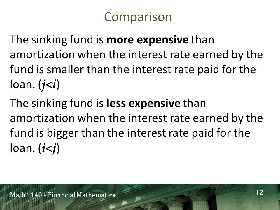 Math 1140 - Financial Mathematics Comparison The sinking fund is more expensive than amortization when the interest rate earned by the fund is smaller
