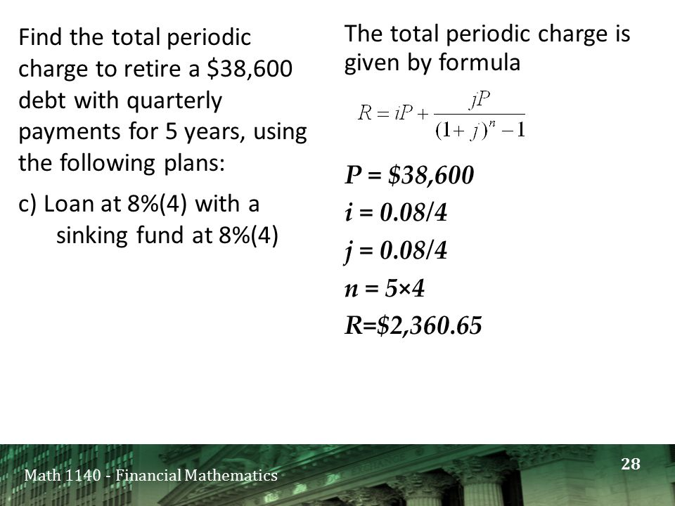 Math 1140 - Financial Mathematics Find the total periodic charge to retire a $38,600 debt with quarterly payments for 5 years, using the following pla