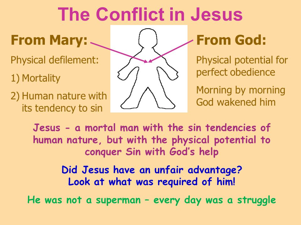 The Conflict in Jesus From Mary: Physical defilement: 1)Mortality 2)Human nature with its tendency to sin From God: Physical potential for perfect obe