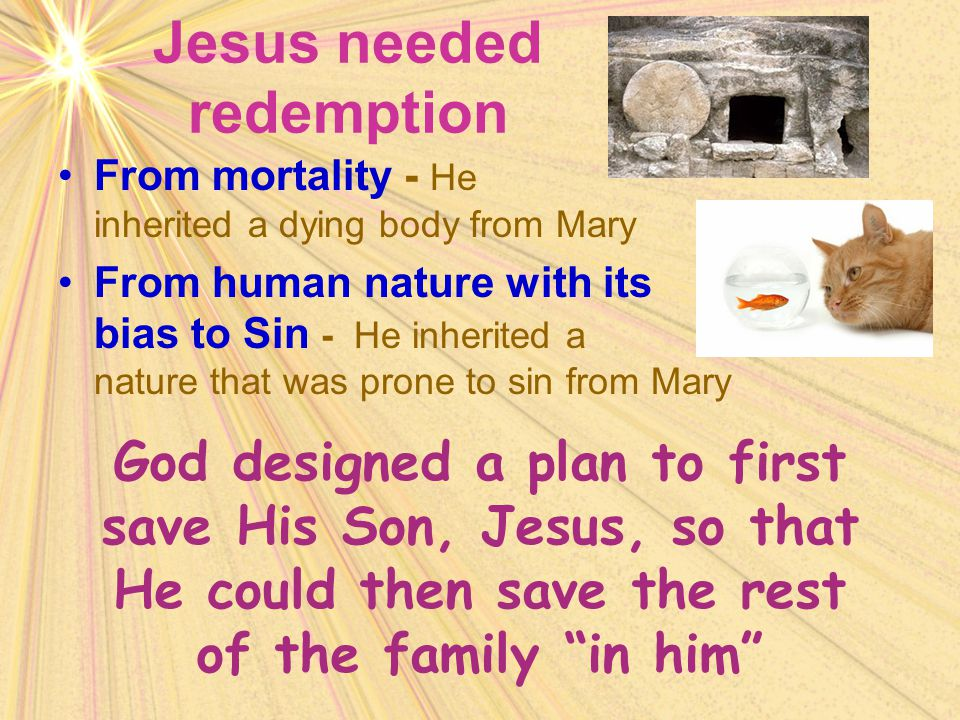 Jesus needed redemption From mortality - He inherited a dying body from Mary From human nature with its bias to Sin - He inherited a nature that was p