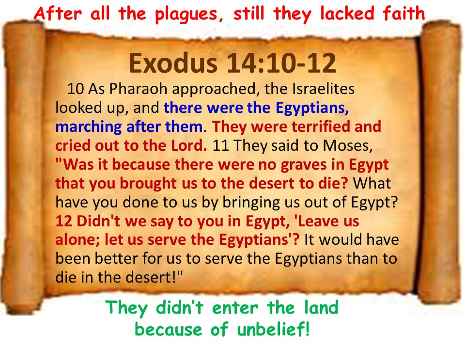 Exodus 14:10-12 10 As Pharaoh approached, the Israelites looked up, and there were the Egyptians, marching after them.
