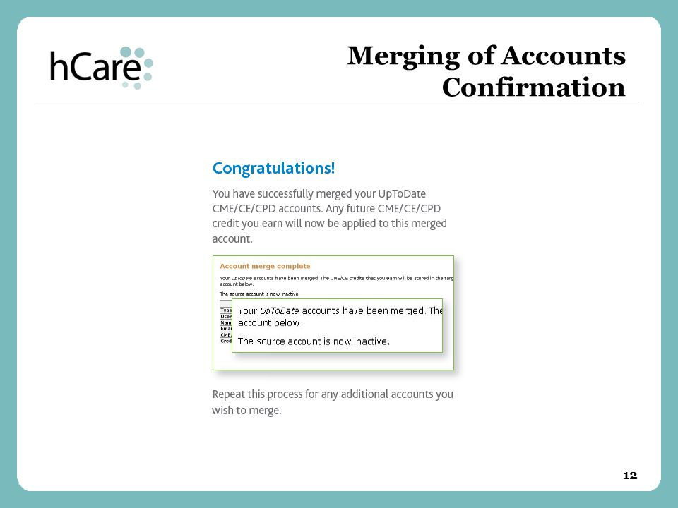 Merging of Accounts Confirmation 12