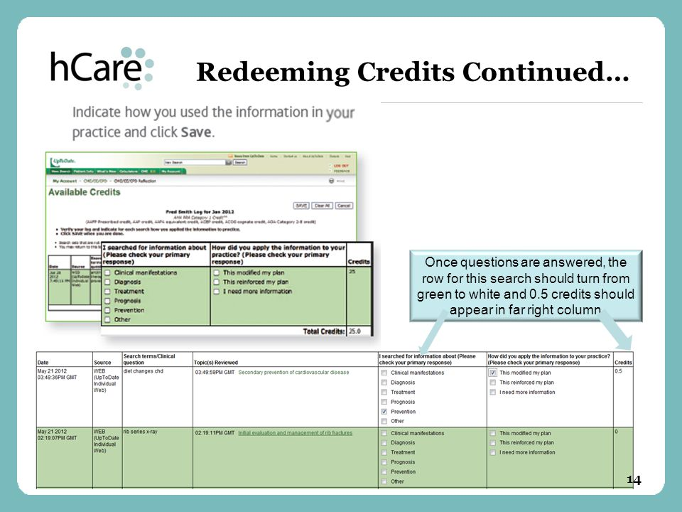 Redeeming Credits Continued… Once questions are answered, the row for this search should turn from green to white and 0.5 credits should appear in far right column 14