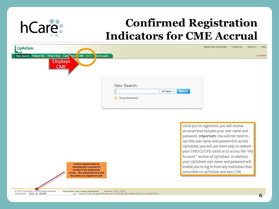 Confirmed Registration Indicators for CME Accrual Displays CME 6