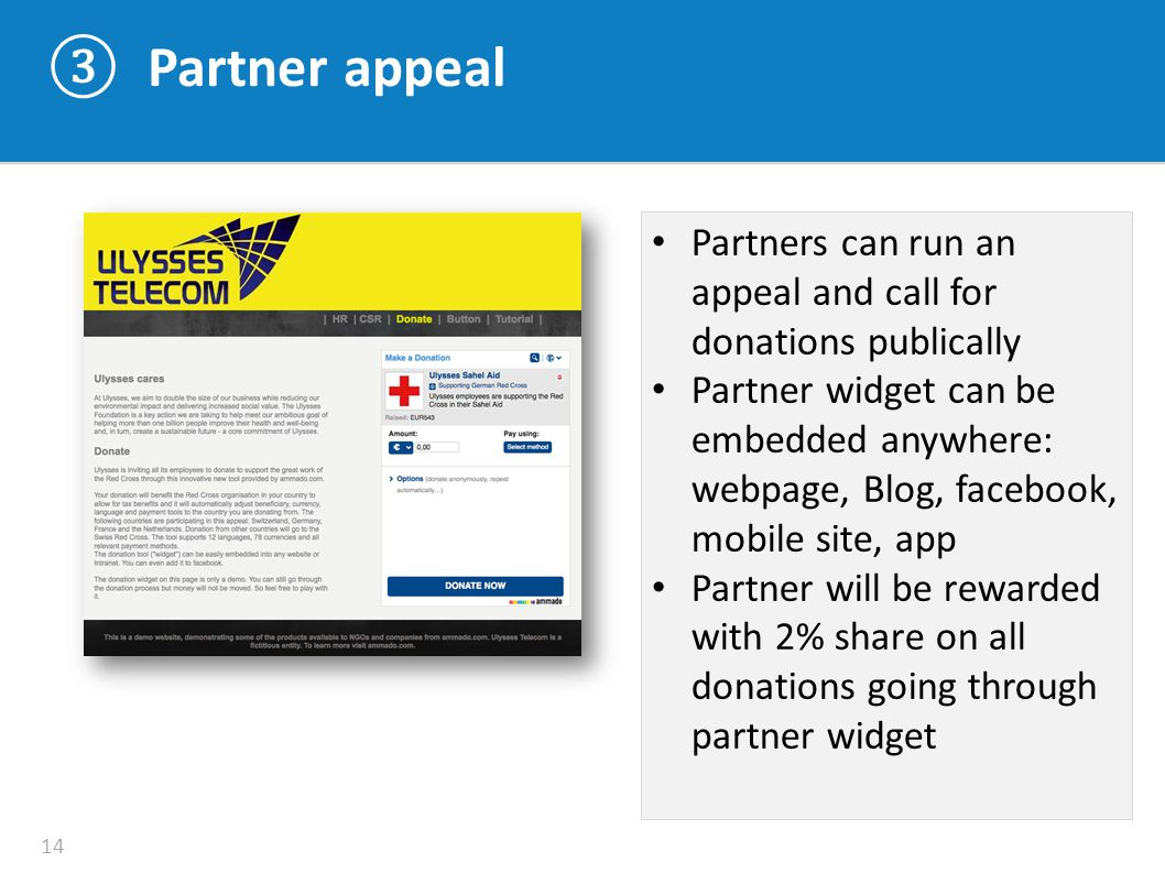 ③ Partner appeal 14 Partners can run an appeal and call for donations publically Partner widget can be embedded anywhere: webpage, Blog, facebook, mob