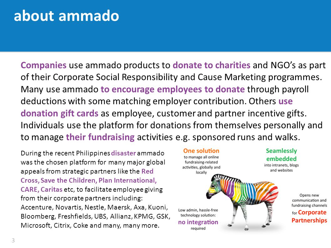 Companies use ammado products to donate to charities and NGO's as part of their Corporate Social Responsibility and Cause Marketing programmes.