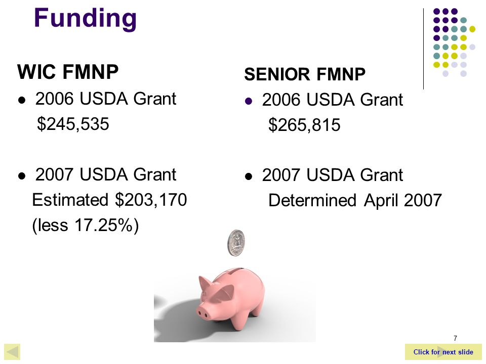 Click for next slide 7 Funding WIC FMNP 2006 USDA Grant $245,535 2007 USDA Grant Estimated $203,170 (less 17.25%) SENIOR FMNP 2006 USDA Grant $265,815 2007 USDA Grant Determined April 2007