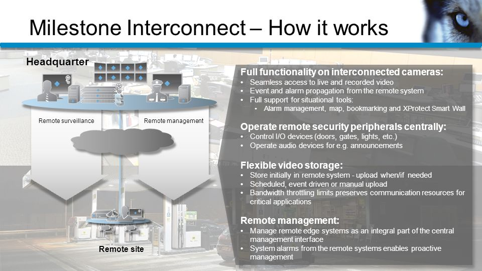 Milestone Interconnect – How it works Full functionality on interconnected cameras: Seamless access to live and recorded video Event and alarm propagation from the remote system Full support for situational tools: Alarm management, map, bookmarking and XProtect Smart Wall Operate remote security peripherals centrally: Control I/O devices (doors, gates, lights, etc.) Operate audio devices for e.g.
