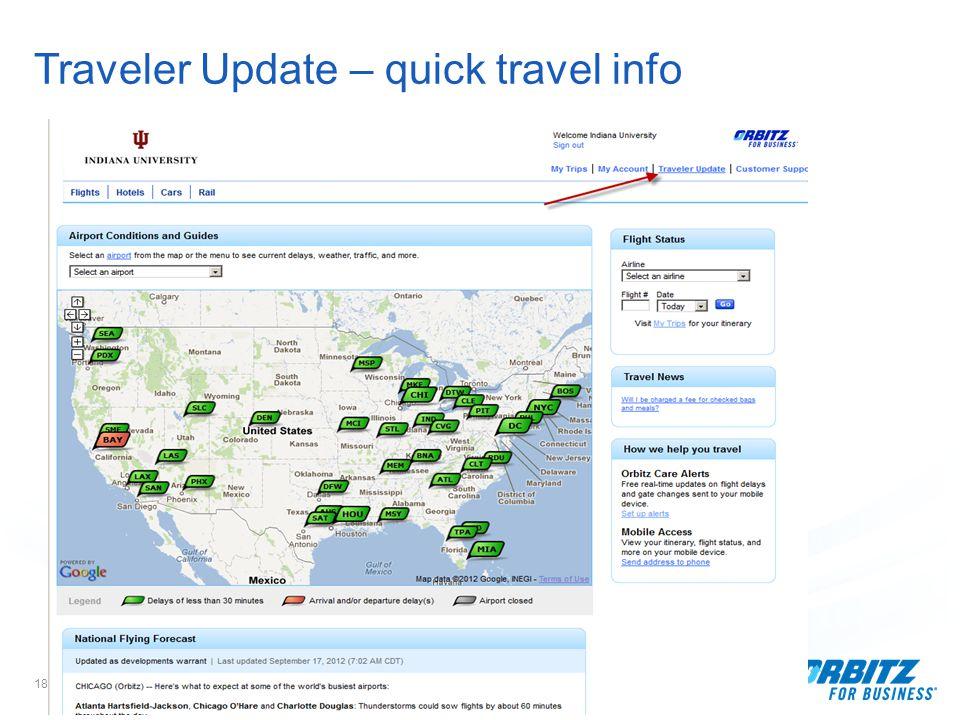 18 Traveler Update – quick travel info