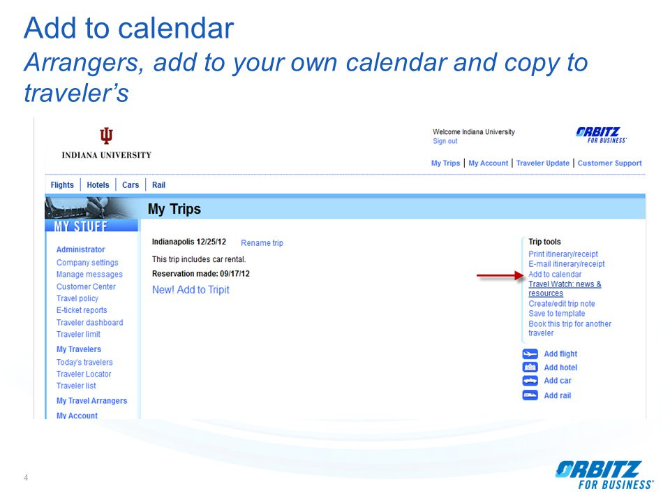 4 Add to calendar Arrangers, add to your own calendar and copy to traveler's