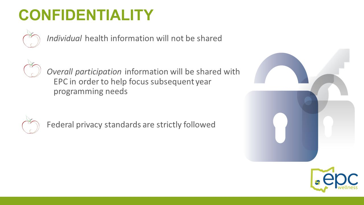 Individual health information will not be shared Overall participation information will be shared with EPC in order to help focus subsequent year prog