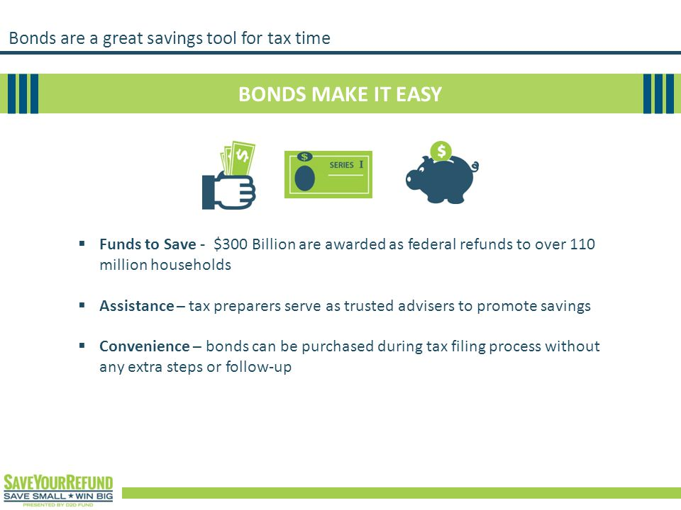 Bonds are a great savings tool for tax time BONDS MAKE IT EASY  Funds to Save - $300 Billion are awarded as federal refunds to over 110 million house