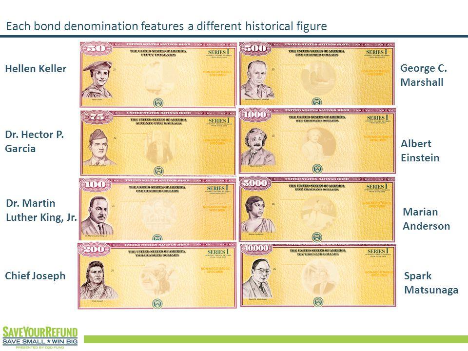 Each bond denomination features a different historical figure Hellen Keller Dr.
