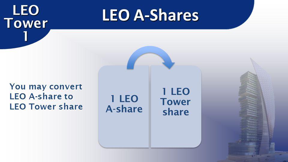 LEO A-Shares LEO Tower 1 1 LEO A-share 1 LEO Tower share You may convert LEO A-share to LEO Tower share