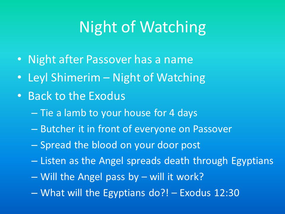Night of Watching Night after Passover has a name Leyl Shimerim – Night of Watching Back to the Exodus – Tie a lamb to your house for 4 days – Butcher