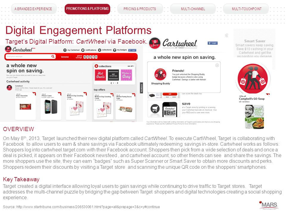 A BRANDED EXPERIENCEPROMOTIONS & PLATFORMSPRICING & PRODUCTS MULTI-CHANNEL MULTI-TOUCHPOINT Digital Engagement Platforms PROMOTIONS & PLATFORMS On May 8 th, 2013, Target launched their new digital platform called CartWheel.