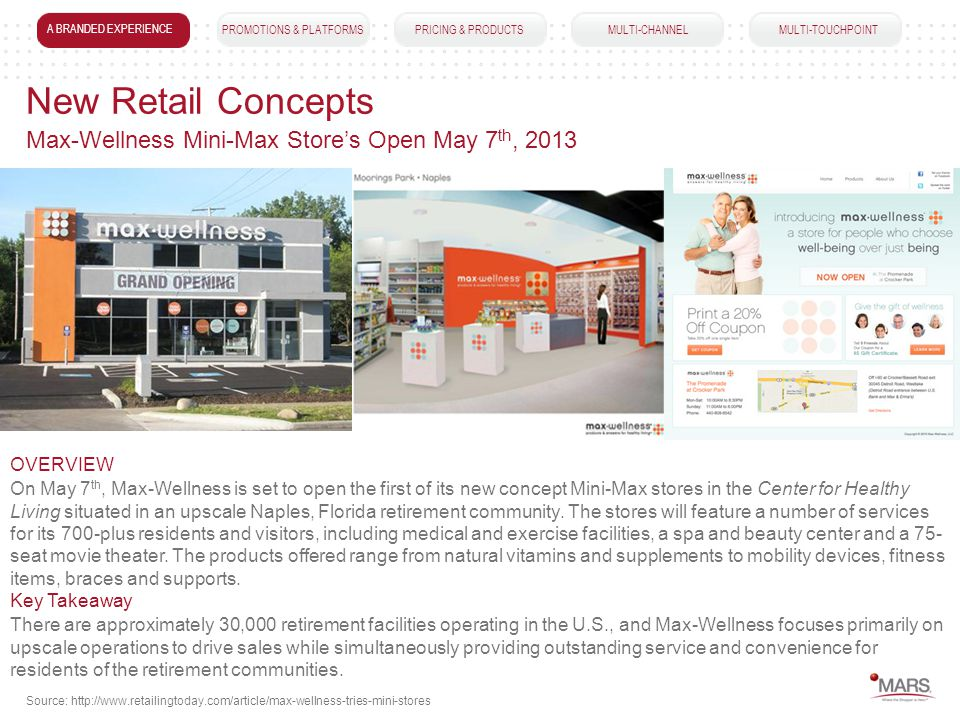 A BRANDED EXPERIENCEPROMOTIONS & PLATFORMSPRICING & PRODUCTS MULTI-CHANNEL MULTI-TOUCHPOINT New Retail Concepts On May 7 th, Max-Wellness is set to open the first of its new concept Mini-Max stores in the Center for Healthy Living situated in an upscale Naples, Florida retirement community.