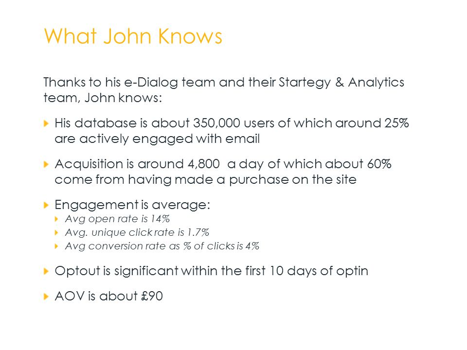 What John Knows Thanks to his e-Dialog team and their Startegy & Analytics team, John knows: His database is about 350,000 users of which around 25% are actively engaged with email Acquisition is around 4,800 a day of which about 60% come from having made a purchase on the site Engagement is average: Avg open rate is 14% Avg.