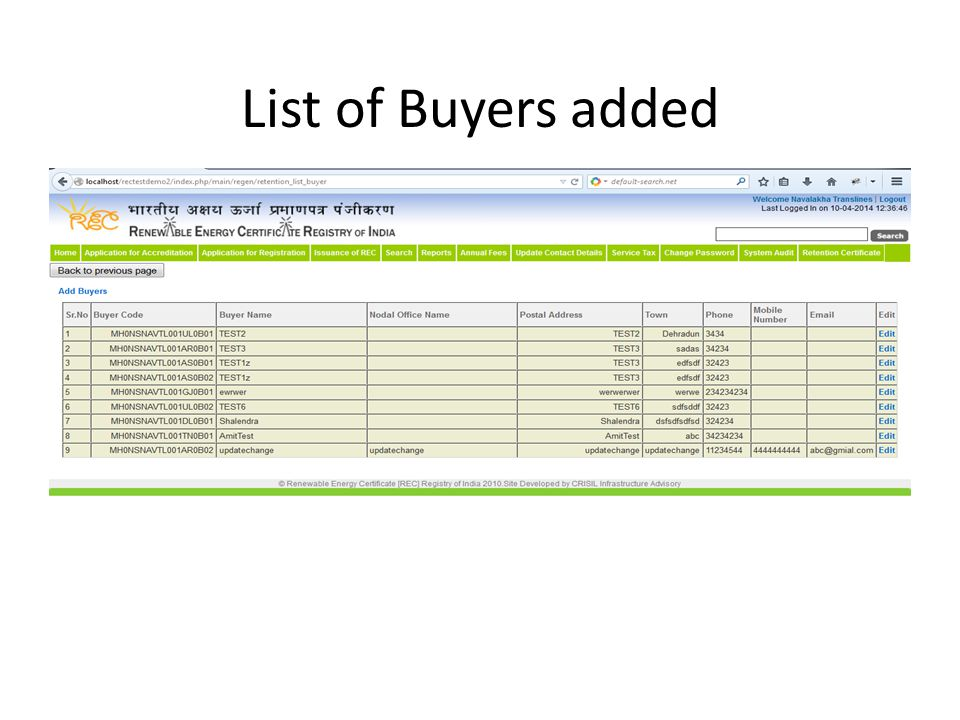 List of Buyers added