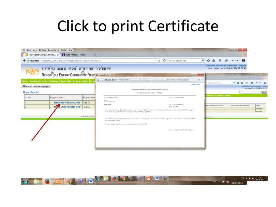 Click to print Certificate