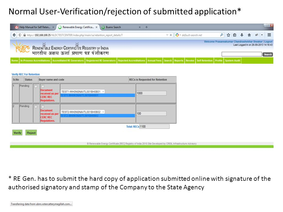 Normal User-Verification/rejection of submitted application* * RE Gen.