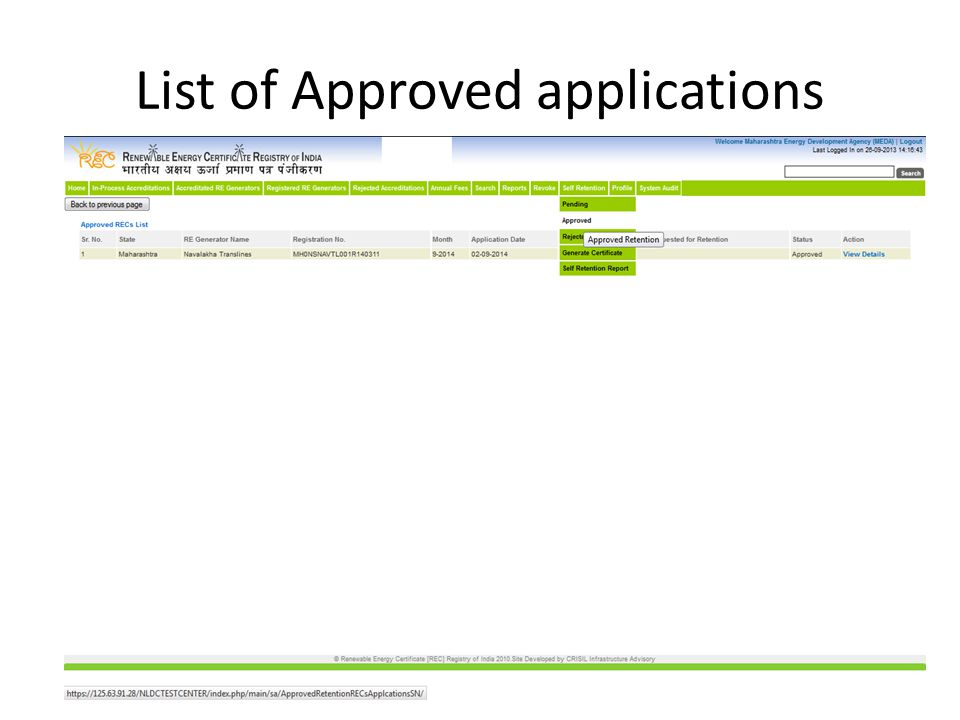 List of Approved applications