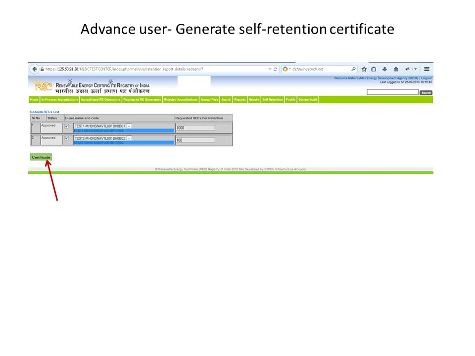 Advance user- Generate self-retention certificate