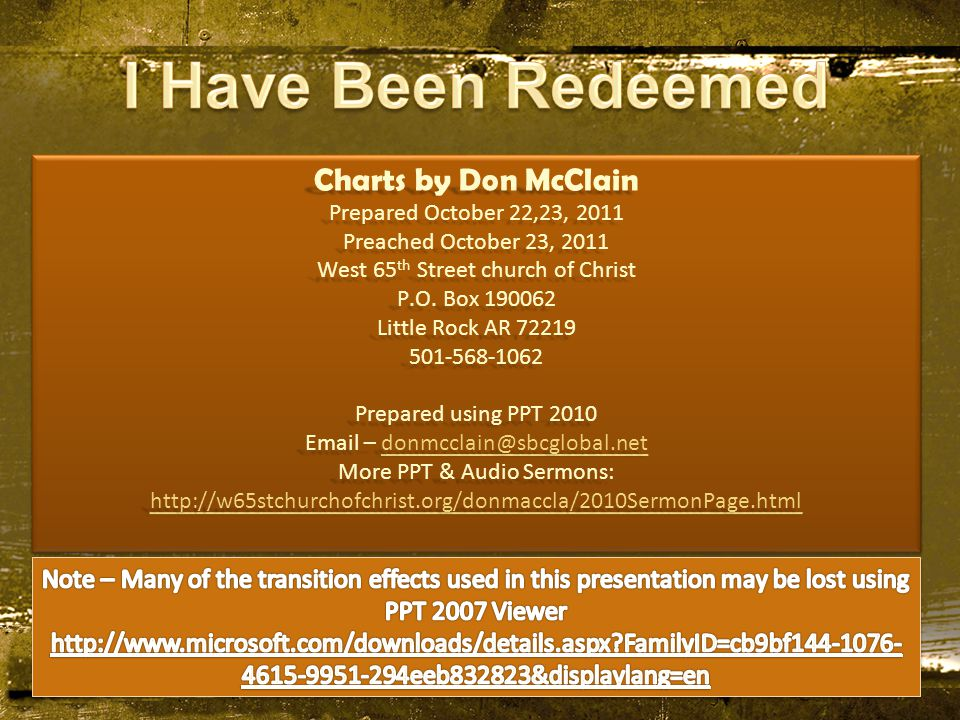Charts by Don McClain Prepared October 22,23, 2011 Preached October 23, 2011 West 65 th Street church of Christ P.O.