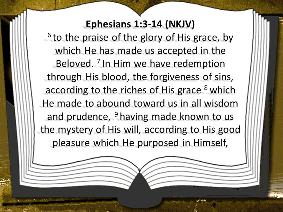Ephesians 1:3-14 (NKJV) 6 to the praise of the glory of His grace, by which He has made us accepted in the Beloved.