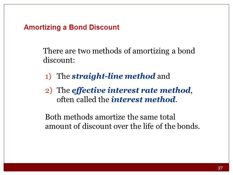 37 Amortizing a Bond Discount There are two methods of amortizing a bond discount: 1)The straight-line method and 2)The effective interest rate method