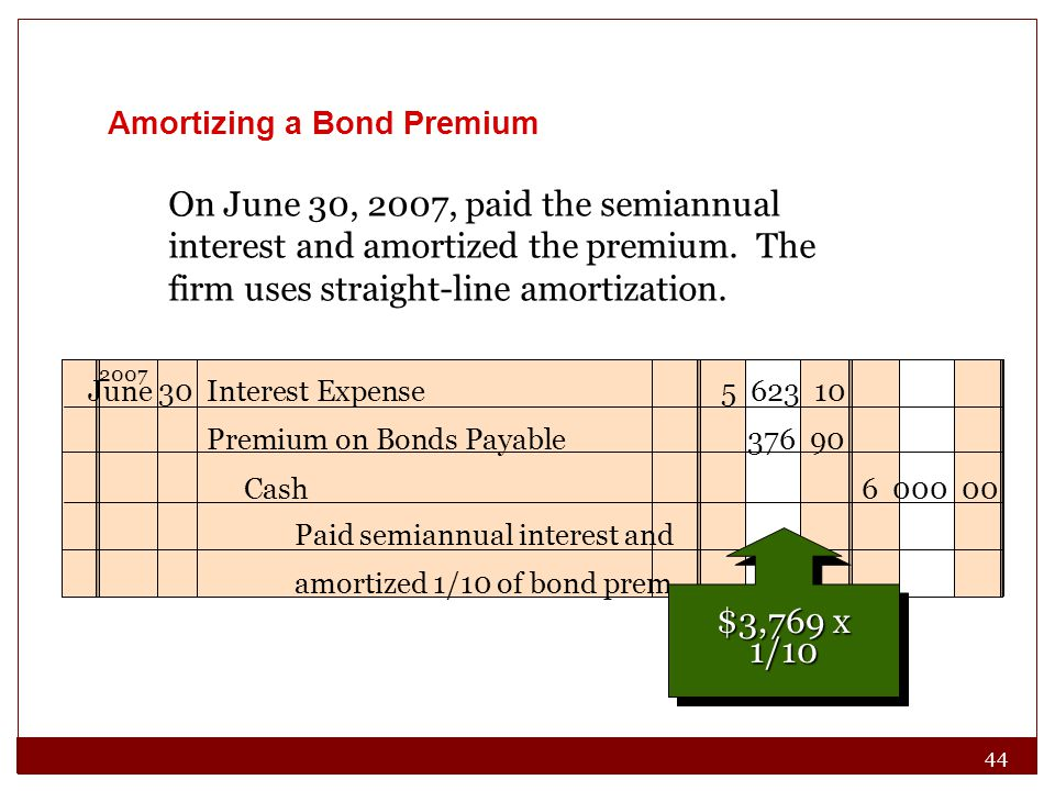 44 On June 30, 2007, paid the semiannual interest and amortized the premium. The firm uses straight-line amortization. Paid semiannual interest and am