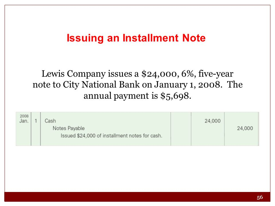 Issuing an Installment Note Lewis Company issues a $24,000, 6%, five-year note to City National Bank on January 1, 2008. The annual payment is $5,698.