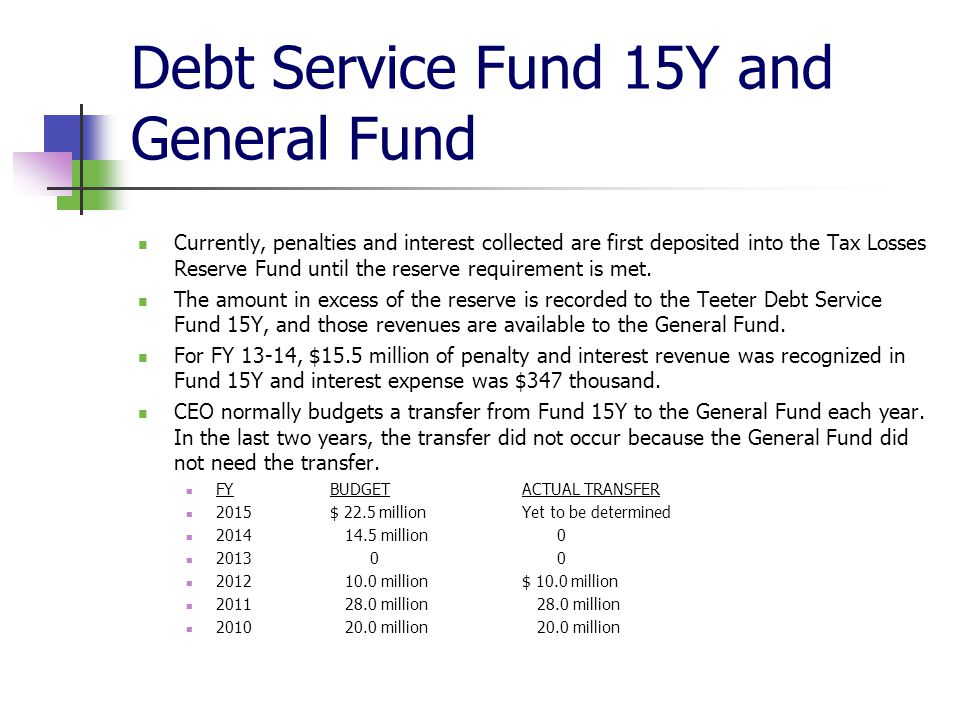 Debt Service Fund 15Y and General Fund Currently, penalties and interest collected are first deposited into the Tax Losses Reserve Fund until the rese