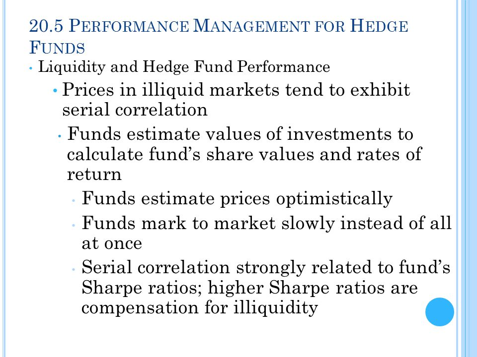 20.5 P ERFORMANCE M ANAGEMENT FOR H EDGE F UNDS Liquidity and Hedge Fund Performance Prices in illiquid markets tend to exhibit serial correlation Funds estimate values of investments to calculate fund's share values and rates of return Funds estimate prices optimistically Funds mark to market slowly instead of all at once Serial correlation strongly related to fund's Sharpe ratios; higher Sharpe ratios are compensation for illiquidity