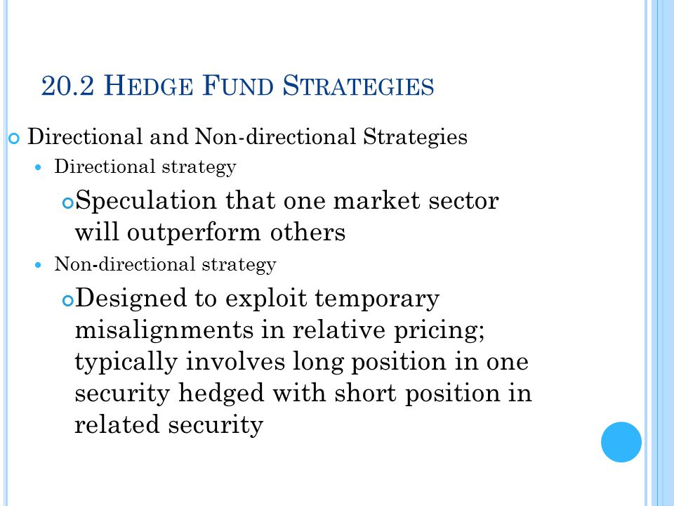 20.2 H EDGE F UND S TRATEGIES Directional and Non-directional Strategies Market neutral Designed to exploit relative mispricing within market; hedged to avoid taking stance on direction on broad market Pure plays Bets on particular mispricing across two or more securities; extraneous sources of risk hedged away