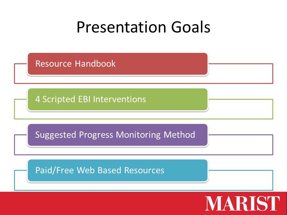 Presentation Goals Resource Handbook4 Scripted EBI InterventionsSuggested Progress Monitoring MethodPaid/Free Web Based Resources