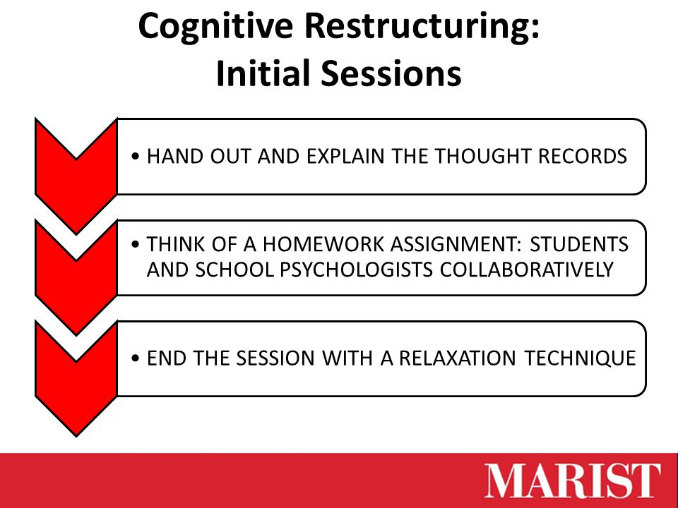 Cognitive Restructuring: Initial Sessions HAND OUT AND EXPLAIN THE THOUGHT RECORDS THINK OF A HOMEWORK ASSIGNMENT: STUDENTS AND SCHOOL PSYCHOLOGISTS COLLABORATIVELY END THE SESSION WITH A RELAXATION TECHNIQUE