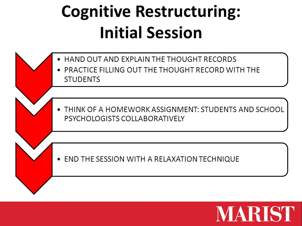 Cognitive Restructuring: Initial Session HAND OUT AND EXPLAIN THE THOUGHT RECORDS PRACTICE FILLING OUT THE THOUGHT RECORD WITH THE STUDENTS THINK OF A HOMEWORK ASSIGNMENT: STUDENTS AND SCHOOL PSYCHOLOGISTS COLLABORATIVELY END THE SESSION WITH A RELAXATION TECHNIQUE