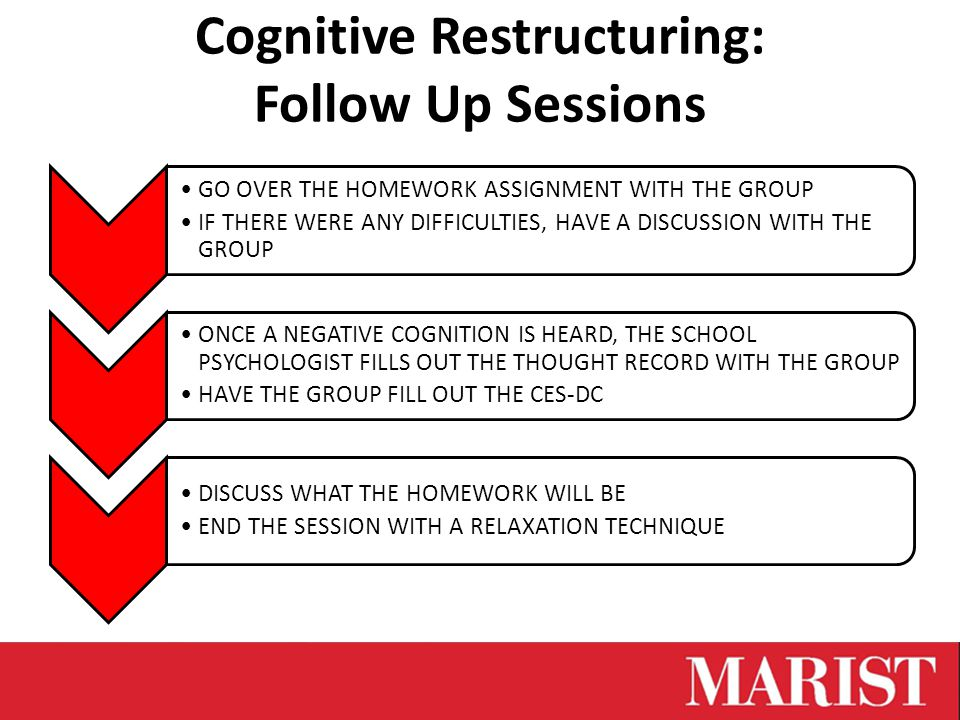 Cognitive Restructuring: Follow Up Sessions GO OVER THE HOMEWORK ASSIGNMENT WITH THE GROUP IF THERE WERE ANY DIFFICULTIES, HAVE A DISCUSSION WITH THE GROUP ONCE A NEGATIVE COGNITION IS HEARD, THE SCHOOL PSYCHOLOGIST FILLS OUT THE THOUGHT RECORD WITH THE GROUP HAVE THE GROUP FILL OUT THE CES-DC DISCUSS WHAT THE HOMEWORK WILL BE END THE SESSION WITH A RELAXATION TECHNIQUE
