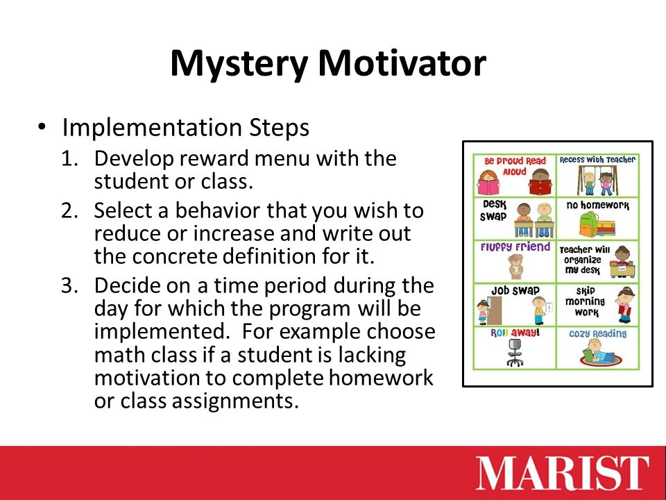 Implementation Steps 1.Develop reward menu with the student or class.