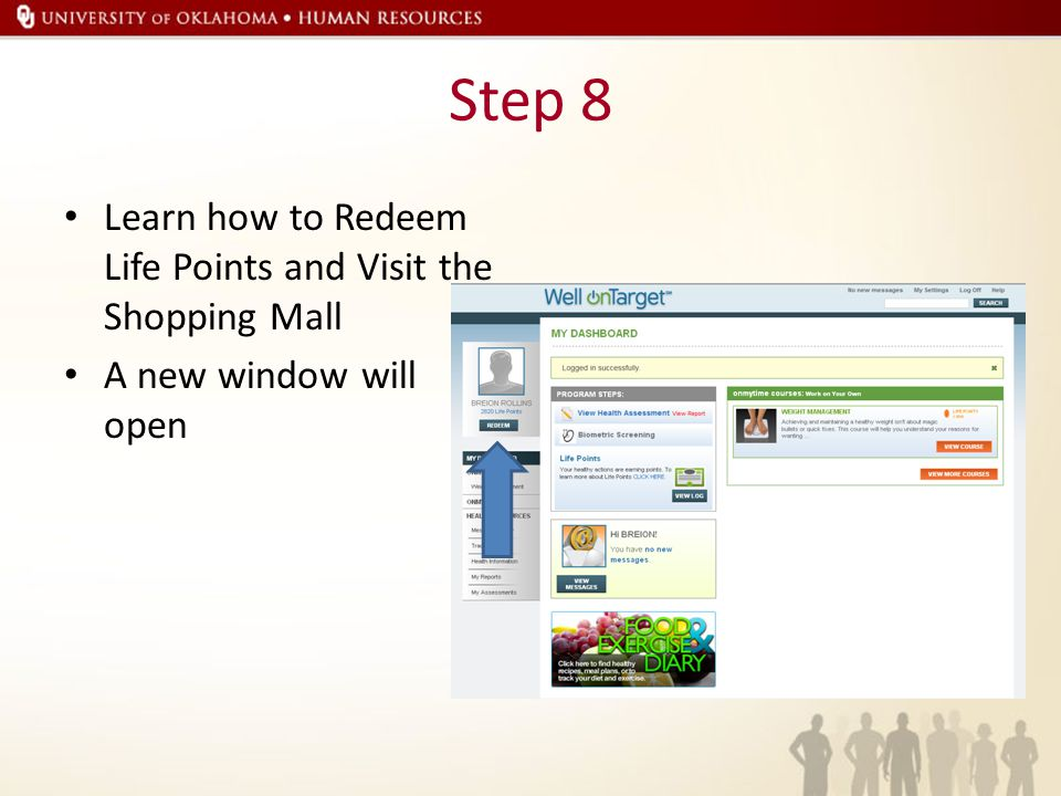 Step 8 Learn how to Redeem Life Points and Visit the Shopping Mall A new window will open